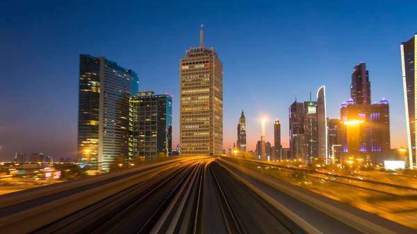 POV timelapse journey on the modern driverless Dubai elevated Rail Metro System, running alongside the Sheikh Zayed Rd, Dubai, UAE Royalty-free stock video