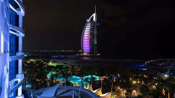 Jumeirah Beach, Burj Al Arab Hotel, Dubai, United Arab Emirates, Middle East - timelapse Royalty-free stock video
