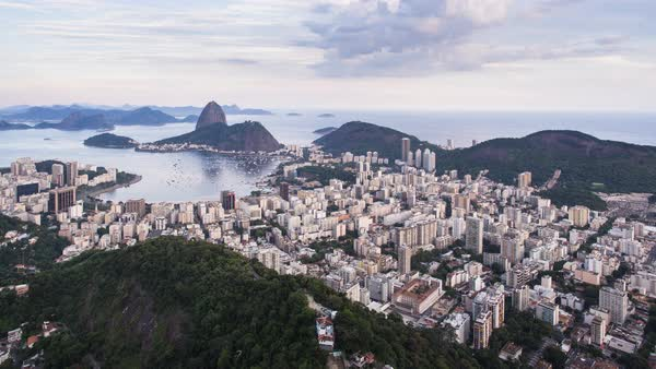 Pao Acucar or Sugar loaf mountain and the bay of Botafogo, Rio de Janeiro, Brazil, South America Royalty-free stock video