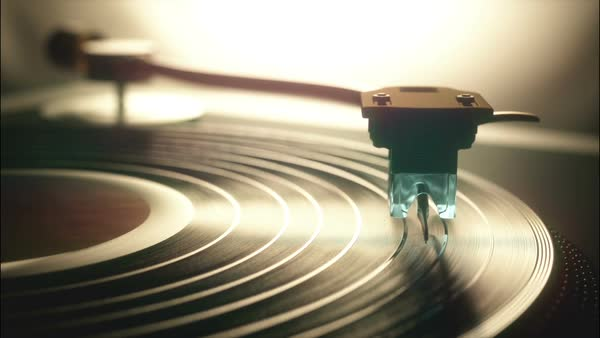 Animation of a record player playing a record. The needle (stylus ...