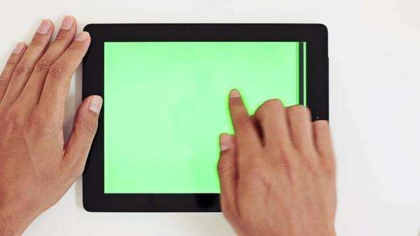 Male hands and a tablet PC. Royalty-free stock video