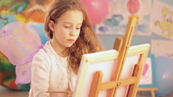 Little girl painting. Royalty-free stock video