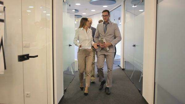 Business team on their way to a meeting. Royalty-free stock video