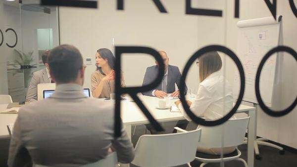Group of business people attending a meeting. Royalty-free stock video