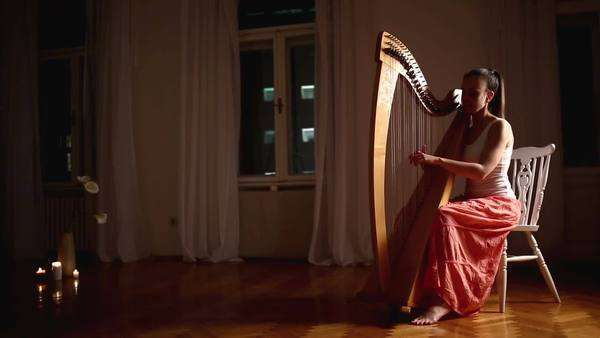 Young Caucasian woman playing the harp at home. Royalty-free stock video