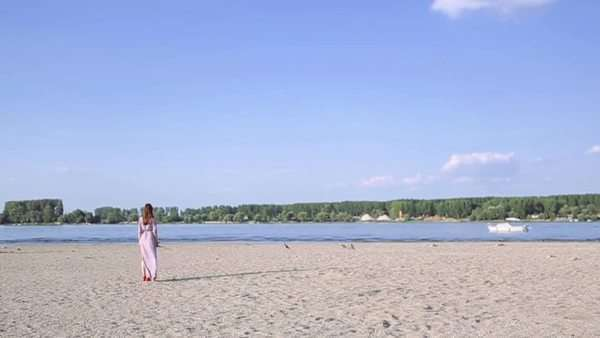 Woman in a long pink dress standing alone on a sandy beach. Royalty-free stock video