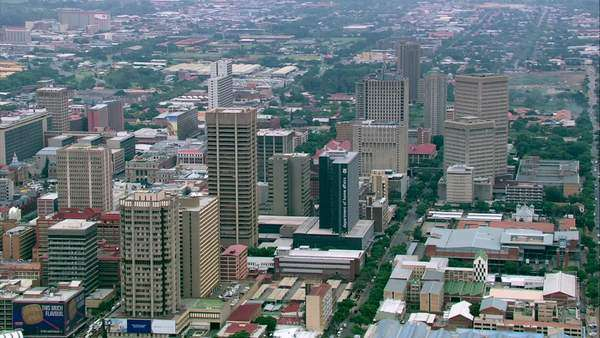Aerial shot of Pretoria city centre Rights-managed stock video