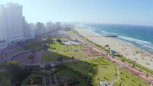 Aerial view of the Durban beachfront Rights-managed stock video