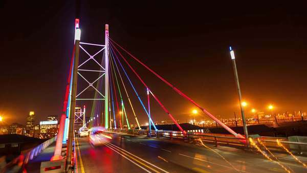 Timelapse at night shooting down on the Nelson Mandela Bridge in the city centre of Johannesburg, South Africa Royalty-free stock video