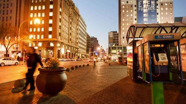Linear timelapse at night of Ghandi Square in the city centre of Johannesburg, South Africa Royalty-free stock video