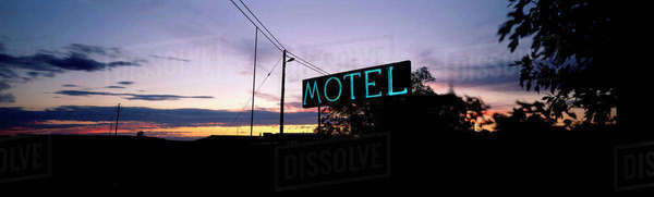 Motel sign at sunset, Karoo, Western Cape Rights-managed stock photo