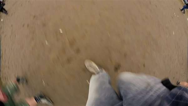 Fish eye view of boots walking Royalty-free stock video