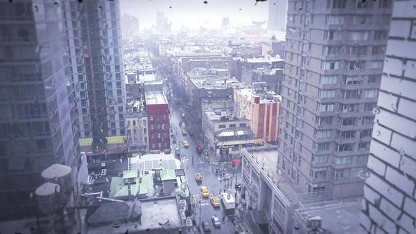 High angle over Manhattan New York with heavy rain falling and rolling down windows. Royalty-free stock video