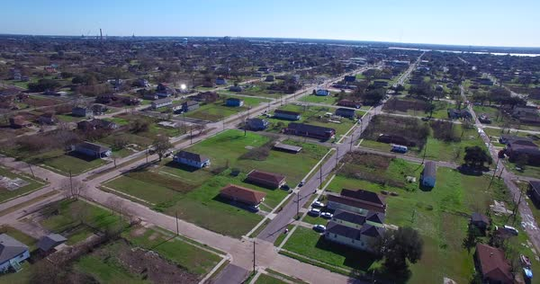 Dramatic aerial shot over the blighted lower ninth ward in New Orleans following Hurricane Katrina. Royalty-free stock video