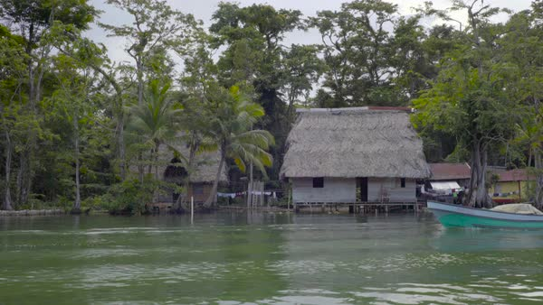 View from a boat of a village hut on stilts along a river in Guatemala. Royalty-free stock video