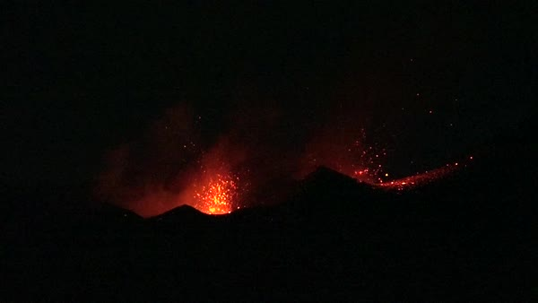 The Cabo Verde volcano erupts at night in spectacular fashion on Cape Verde Island off the coast of Africa. Royalty-free stock video