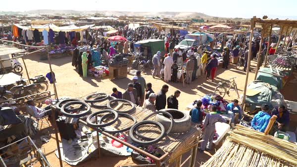 Overview of a huge open air outdoor market in Morocco. Royalty-free stock video