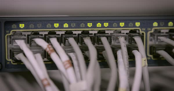 Computer cables are plugged into a hub in a data center. Royalty-free stock video