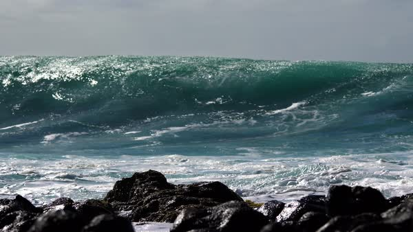 Blue waves roll into the coast of Hawaii in slow motion. Royalty-free stock video
