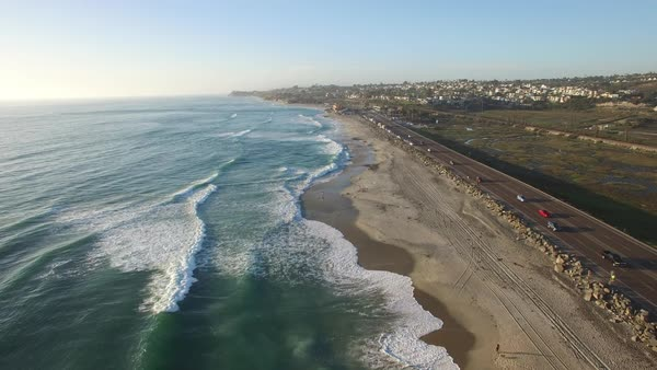 High aerial over the California coastline near San Diego. Royalty-free stock video