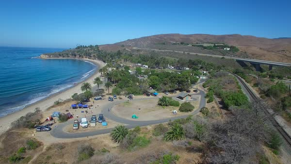 A beautiful aerial shot along the California coastline at Refugio State Beach near Santa Barbara. Royalty-free stock video