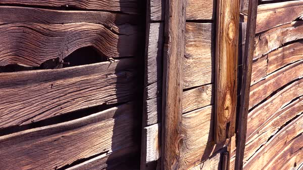 Pattern of old wooden slats in the desolate ghost town of Bodie, California. Royalty-free stock video