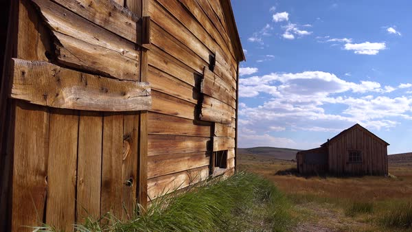 Old wooden barns sit in the grasslands at the abandoned ghost town of Bodie. Royalty-free stock video