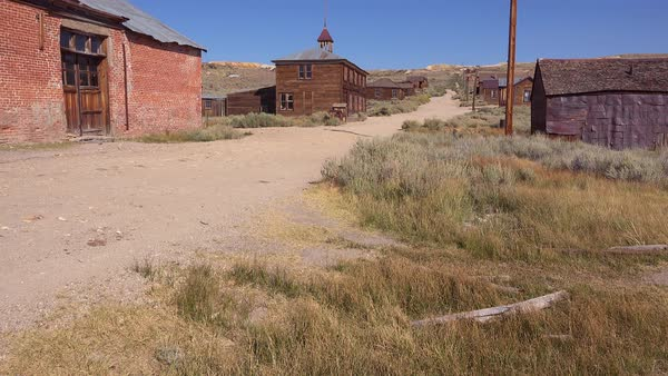 View along the abandoned main street of Bodie, California. Royalty-free stock video