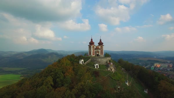 A beautiful aerial shot of a mystical castle on a hilltop in Slovakia Eastern Europe. Royalty-free stock video