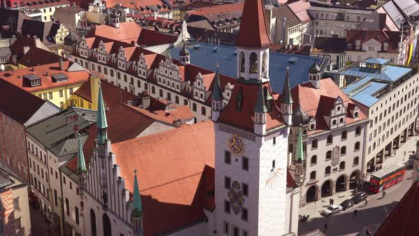 High angle classic establishing shot of neighborhoods in Munich Germany. Royalty-free stock video
