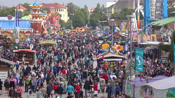 Huge crowds of people attend Oktoberfest in Munich, Germany. Royalty-free stock video