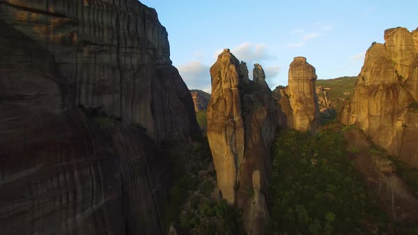 Beautiful aerials over the rock formations of Meteora, Greece. Royalty-free stock video