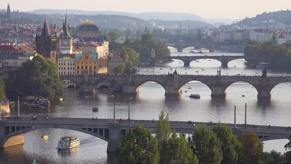 Beautiful establishing shot along Vltava River of Prague, Czech Republic. Royalty-free stock video