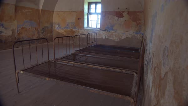 Interior of rusting hospital at the Terezin Nazi concentration camp in Czech Republic. Royalty-free stock video