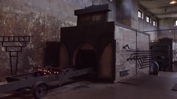 Interior of the crematorium and ovens at the Terezin Nazi concentration camp in Czech Republic. Royalty-free stock video
