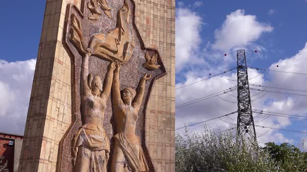 Old Soviet era statues stand rusting in Memento Park outside Budapest, Hungary. Royalty-free stock video