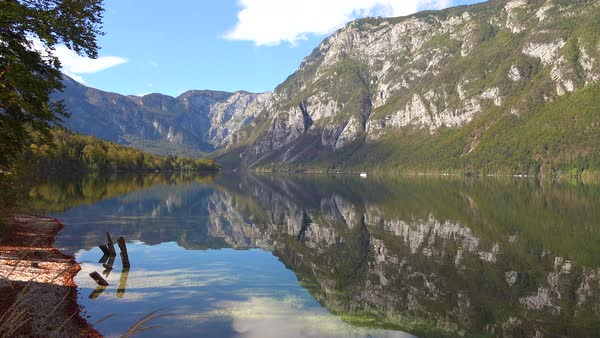A beautiful establishing shot of Lake Bohinj, Slovenia. Royalty-free stock video