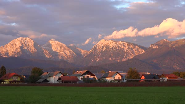 Time lapse shot of houses and chalets in the Julian Alps in Slovenia. Royalty-free stock video