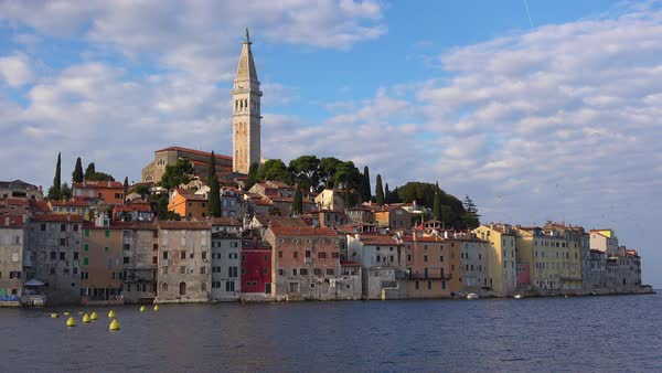 Beautiful shot of the town of Rovinj in Croatia with clouds above. Royalty-free stock video