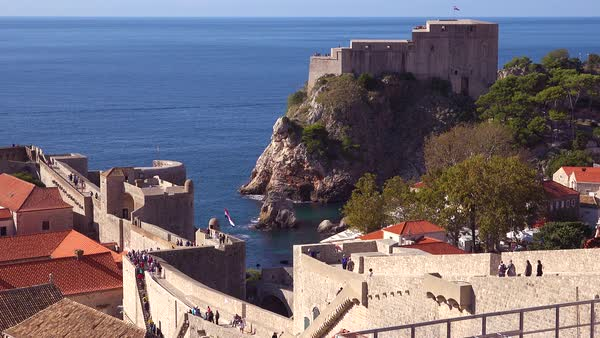 Beautiful view over the bay of the old city of Dubrovnik, Croatia. Royalty-free stock video
