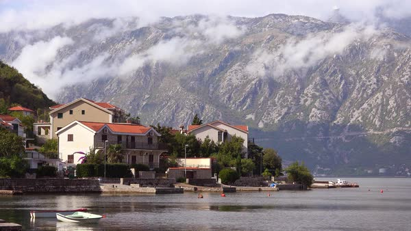 An attractive village on the shores of Boka Bay, Montenegro. Royalty-free stock video