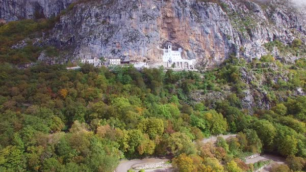 Beautiful aerial approaching the Ostrog monastery in Montenegro. Royalty-free stock video