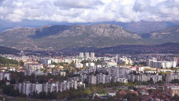 Establishing shot of Podgorica, the capital city of Montenegro. Royalty-free stock video