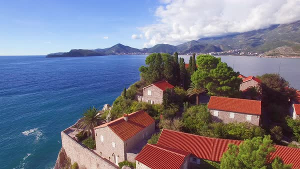 Remarkable aerial shot over the beautiful Sveti Stefan island in Montenegro. Royalty-free stock video