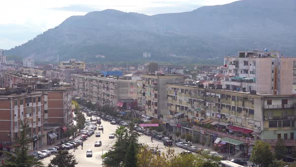 Good establishing shot of the skyline of Shkoder, Albania. Royalty-free stock video