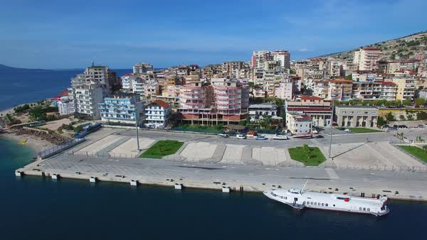 Nice aerial shot of the resort town of Sarande on the coast of Albania. Royalty-free stock video