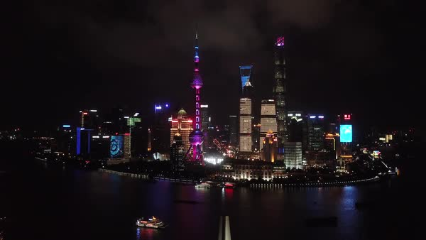Aerial shot of downtown Shanghai at night Royalty-free stock video
