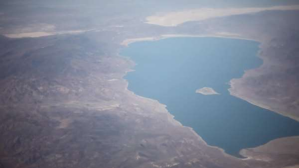 Aerial shot of lake seen from airplane Royalty-free stock video