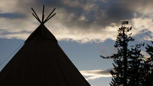 Slider shot of tipi set up for an event Royalty-free stock video