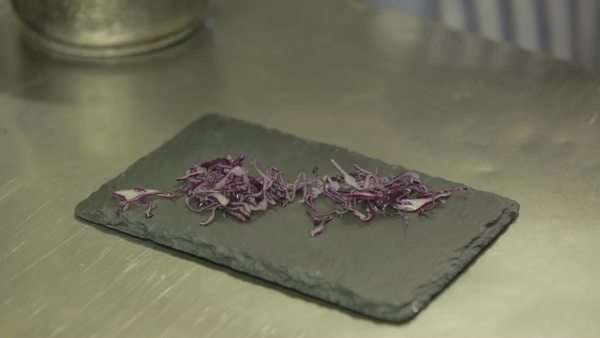 Chef preparing cabbage on slate board Royalty-free stock video